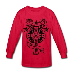 New Cross and Roses Vintage Designer Tee - Kids' Long Sleeve T-Shirt