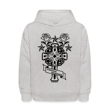 Heather grey tattoo rose cross and nautical star Sweatshirts