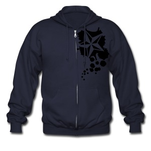 Paint splatter Nautical Star Design - Men's Zip Hoodie