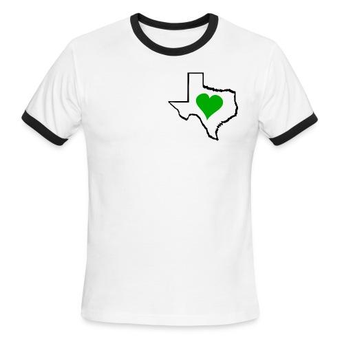 Texas Green Heart - Men's Ringer T-Shirt