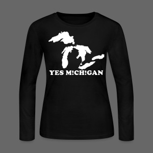 Yes Michigan Women's Long Sleeve Jersey Tee - Women's Long Sleeve Jersey T-Shirt
