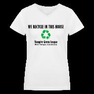 Women's T-Shirts ~ Women's V-Neck T-Shirt ~ Recycle - White - Womens