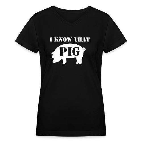 Pig - Black - Women's V Neck - Women's V-Neck T-Shirt