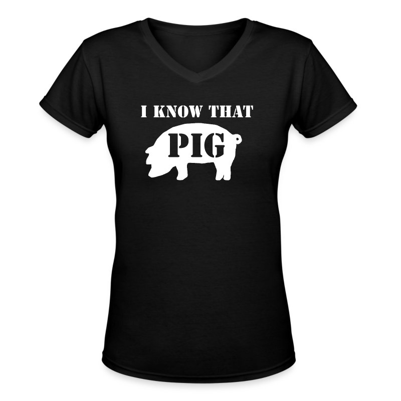 Pig - Black - Women's V Neck - Women's V-Neck T-Shirt