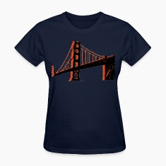 Navy Golden Gate Bridge Women's T-Shirts