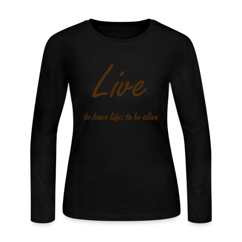 Live Definition Long Sleeved Scooped Neck T- Shirt - Women's Long Sleeve Jersey T-Shirt