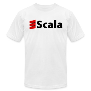 Men's White AA Shirt with Black Scala Logo - Men's T-Shirt by American Apparel