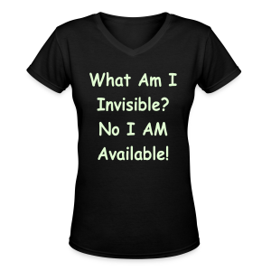 Glows in the dark print What Am I Invisible? - Women's V-Neck T-Shirt