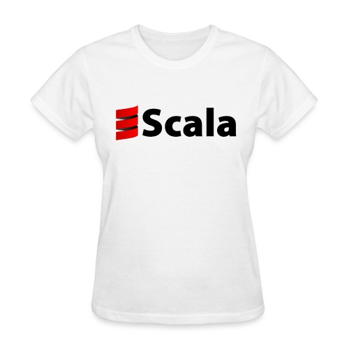 Women's White Slim Fit with Black Scala Logo - Women's T-Shirt