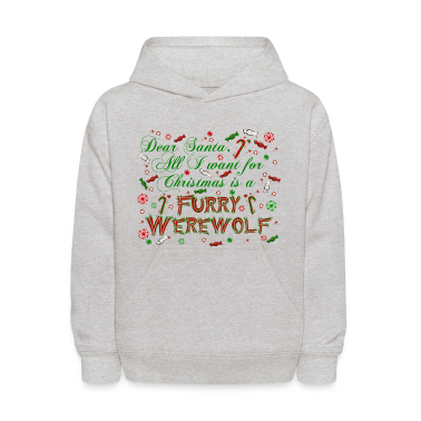Dear Santa Furry Werewolf New Moon Christmas Girls kids Hoodie
