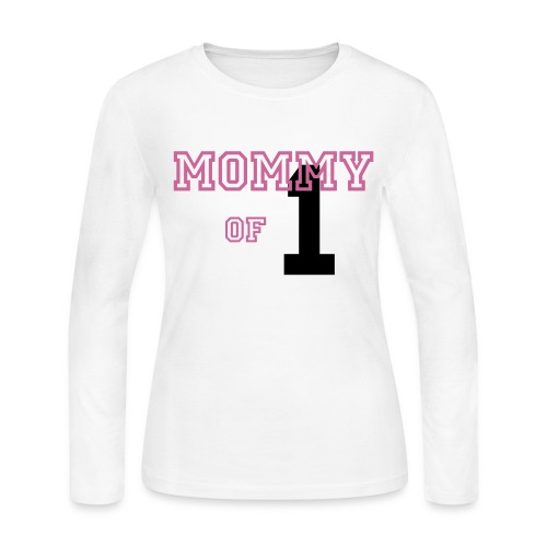 Text in Magenta; Number in Black - Women's Long Sleeve Jersey T-Shirt
