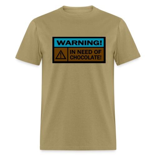 WUBT 'Warning, In Need Of Chocolate--DIGITAL DIRECT' Men's Standard Tee, Sage - Men's T-Shirt