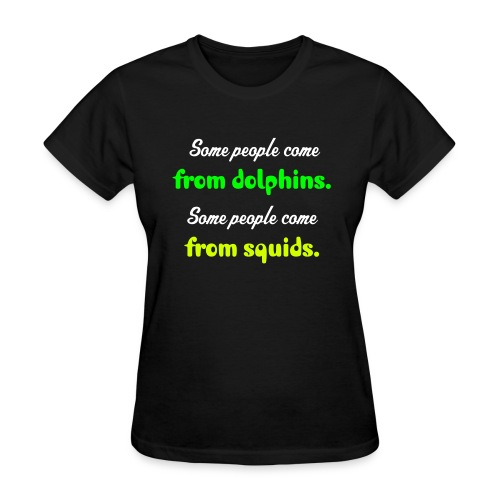 Girl dolphin and squid - Women's T-Shirt