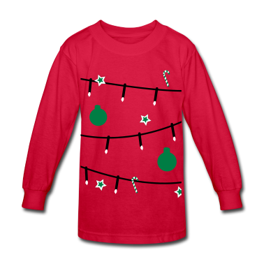 Red Christmas tree decorations Kids' Shirts
