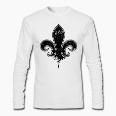 White fleur de lis destroyed Long Sleeve Shirts