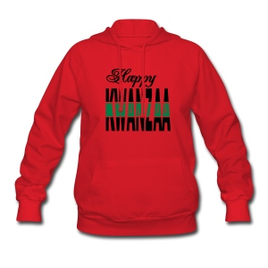 WUBT 'Happy Kwanzaa, Split' Women's Hooded Sweatshirt, Red - Women's Hoodie