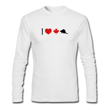 White I Heart Canadian Beaver Long Sleeve Shirts