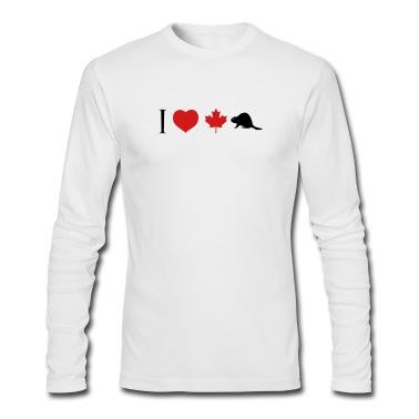 White I Heart Canadian Beaver Long Sleeve Shirts