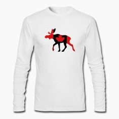 White Canadian Moose Long Sleeve Shirts