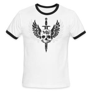 Vintage Skull and Graffiti Logo - Men's Ringer T-Shirt