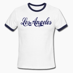 White/navy los angeles T-Shirts