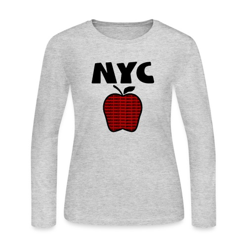 WUBT 'NYC Big Apple With Boroughs, DIGITAL DIRECT' Women's LS Jersey Tee, Gray - Women's Long Sleeve Jersey T-Shirt