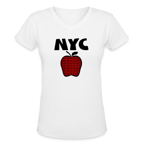 WUBT 'NYC Big Apple With Boroughs, DIGITAL DIRECT' Women's LS V-Neck Tee, White - Women's V-Neck T-Shirt