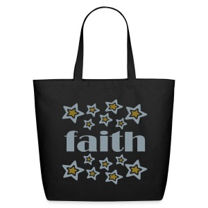 WUBT 'Faith With Double Stars' Large Cotton Tote, Black - Eco-Friendly Cotton Tote
