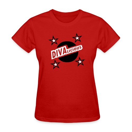 WUBT 'Divalicious With Circle, Stars, Cutouts' Women's Standard Tee, Red - Women's T-Shirt