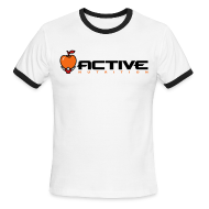 T-Shirts ~ Men's Ringer T-Shirt ~ Active Logo Ringer White