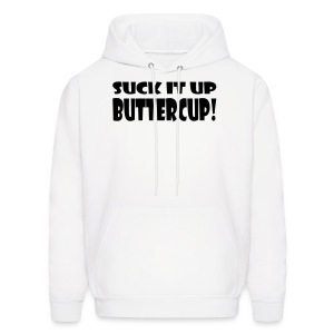Suck It Up Buttercup Men's White Hoodie - Men's Hoodie