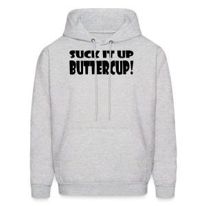 Suck It Up Buttercup Men's Grey Hoodie - Men's Hoodie