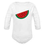 Baby Bodysuits ~ Baby Long Sleeve One Piece ~ KKT 'Large Watermelon Slice' Baby LS One Piece, White