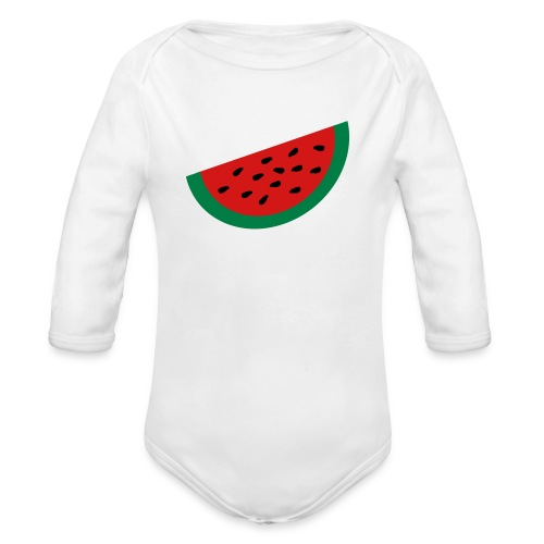KKT 'Large Watermelon Slice' Baby LS One Piece, White - Organic Long Sleeve Baby Bodysuit