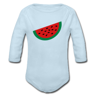 Baby Bodysuits ~ Baby Long Sleeve One Piece ~ KKT 'Large Watermelon Slice' Baby LS One Piece, Sky