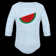 Baby Bodysuits ~ Baby Long Sleeve One Piece ~ KKT 'Large Watermelon Slice' Baby LS One Piece, Sky