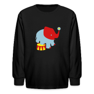 Kids' Shirts ~ Kids' Long Sleeve T-Shirt ~ KKT 'Circus Elephant, 3 Color' Kids' LS Tee, Black
