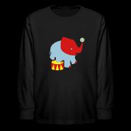 Kids' Shirts ~ Kids' Long Sleeve T-Shirt ~ KKT 'Circus Elephant, 3 Color' Kids' LS Tee, Black