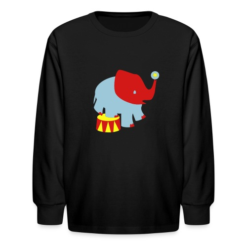 KKT 'Circus Elephant, 3 Color' Kids' LS Tee, Black - Kids' Long Sleeve T-Shirt