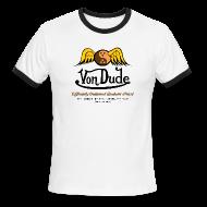 T-Shirts ~ Men's Ringer T-Shirt ~ Von Dude Flying Yin Yang Bowling Ball - Men's Lightweight AA Ringer Tee