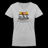 Women's T-Shirts ~ Women's V-Neck T-Shirt ~ Von Dude Flying Yin Yang Bowling Ball - Women's V-Neck T-Shirt