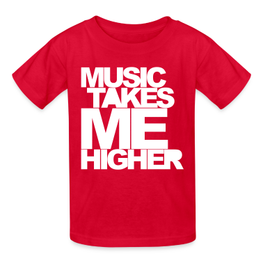 Red Music Takes Me Higher Kids' Shirts