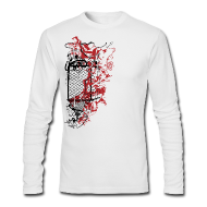 Long Sleeve Shirts ~ Men's Long Sleeve T-Shirt by Next Level ~ Graffiti Fence Designer T-shirt