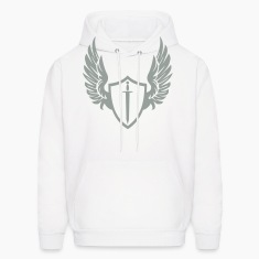 White Cool warrior shield with wings Hoodies