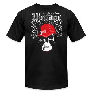 Cool Vintage Skull Cap Designer Tee - Men's Fine Jersey T-Shirt