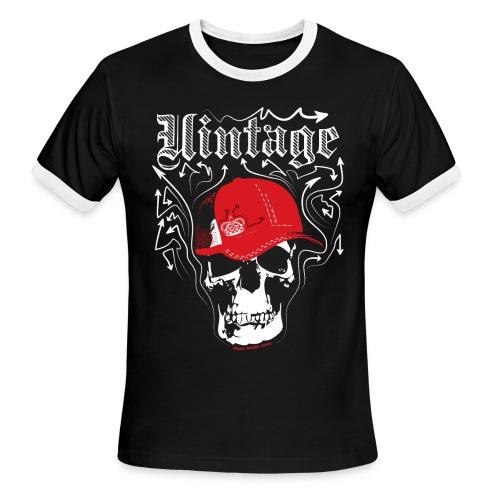 Cool Vintage Skull Cap Designer Tee - Men's Ringer T-Shirt