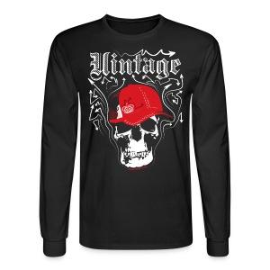 Cool Vintage Skull Cap Designer Tee - Men's Long Sleeve T-Shirt
