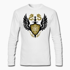 White warrior shield and dragon crest Long Sleeve Shirts
