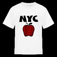 Kids' Shirts ~ Kids' T-Shirt ~ KKT 'NYC, Big Apple With Boroughs, DIGITAL DIRECT' Kids' Tee, White