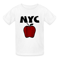 Kids' Shirts ~ Kids' T-Shirt ~ KKT 'NYC, Big Apple With Boroughs, DIGITAL DIRECT' Kids' Tee, White